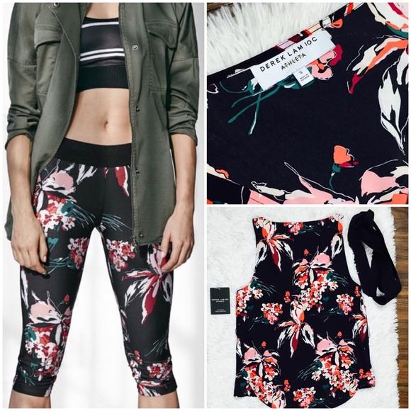 Athleta Womens Capri Derek Lam 10 Crosby Lily Chelsea Black Floral Ltd Ed Size L